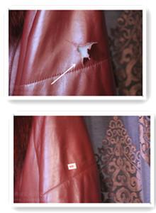女士红色皮衣袖子修补案例图片